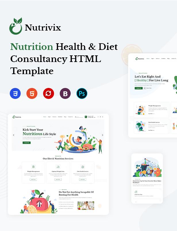 Nutrivix - Nutrition Health & Diet Consultancy HTML5 Template